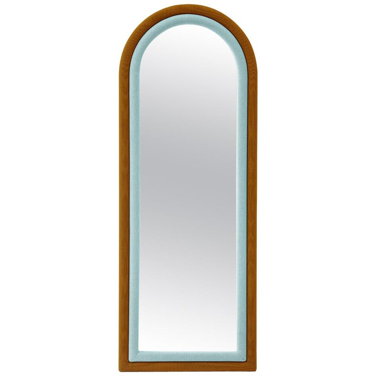 Contemporary Upholstered Iris Floor Mirror, Blue and Copper For Sale