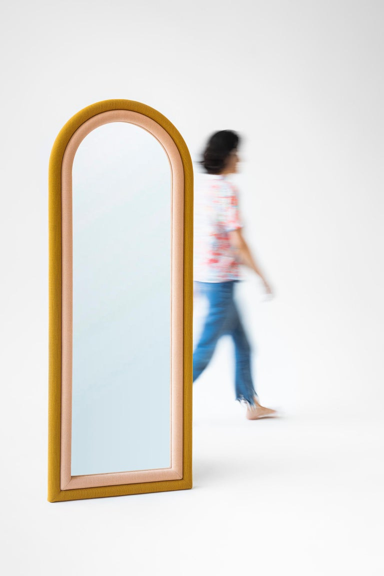 Contemporary Upholstered Iris Floor Mirror, Copper and Pink For Sale 1