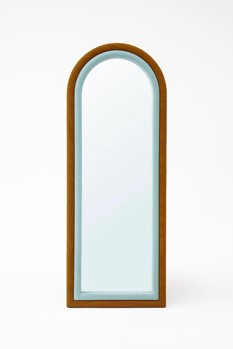 Contemporary Upholstered Iris Floor Mirror, Copper and Pink For Sale 2