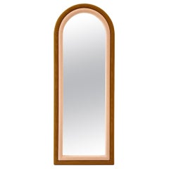 Contemporary Upholstered Iris Floor Mirror, Copper and Pink