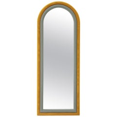 Contemporary Upholstered Iris Floor Mirror, Mustard and Blue