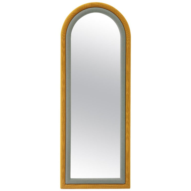 Contemporary Upholstered Iris Floor Mirror, Mustard and Blue For Sale