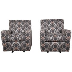 Contemporary Upholstered Swivel Lounge Chairs by Craftmaster, Pair