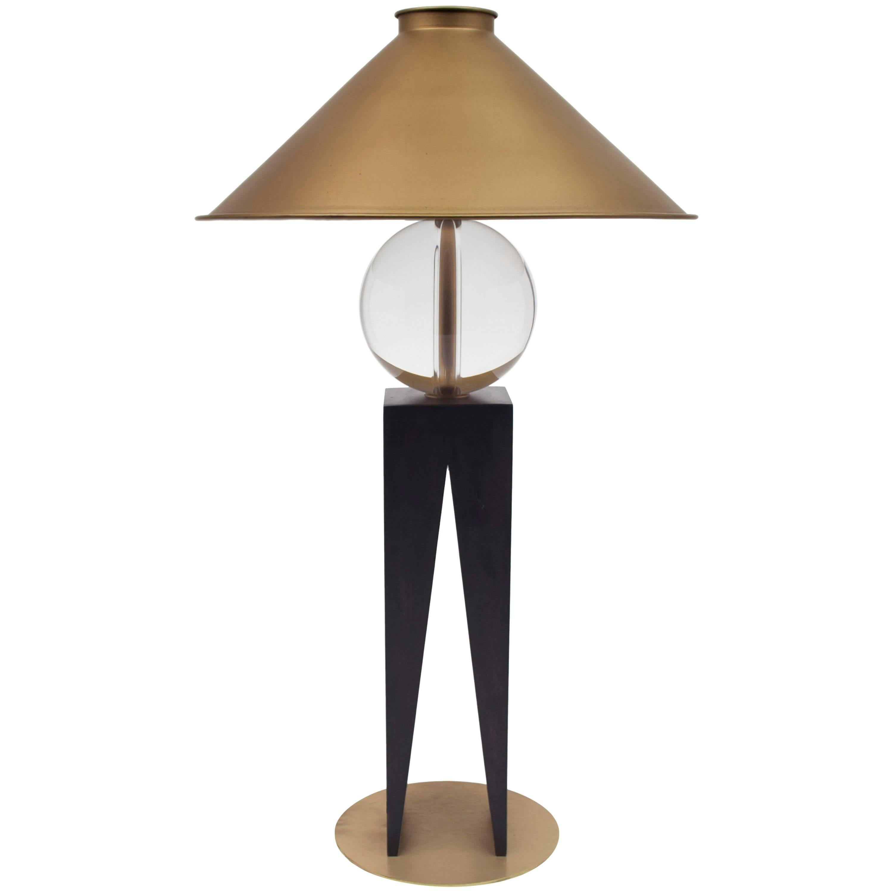 Contemporary V Lamp Hardwood, Solid Glass and Brass