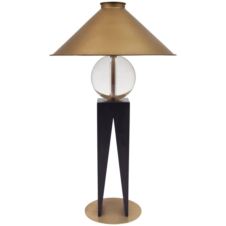 Contemporary V Lamp Hardwood, Solid Glass and Brass For Sale
