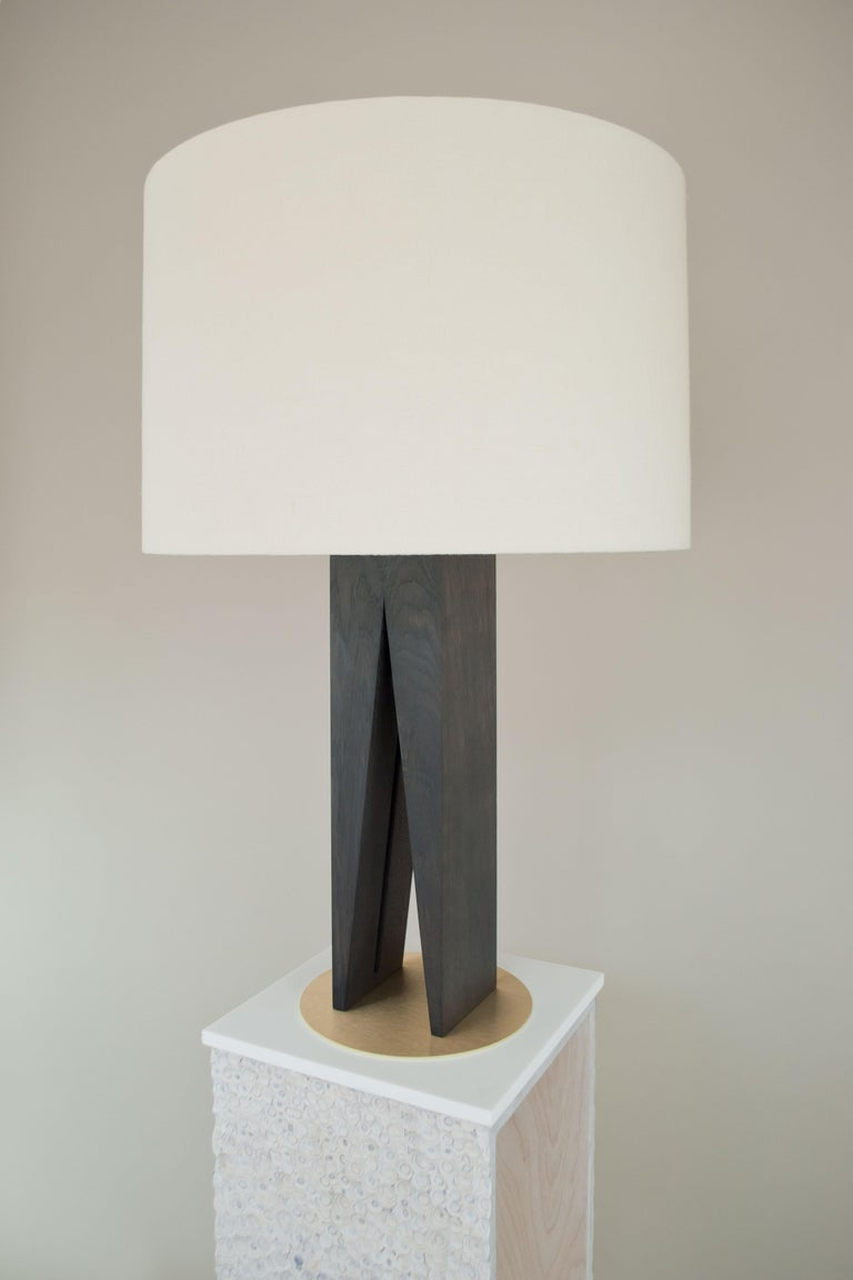 Bauhaus Contemporary V Table Lamp, Geometric Oak Base and Linen Shade For Sale