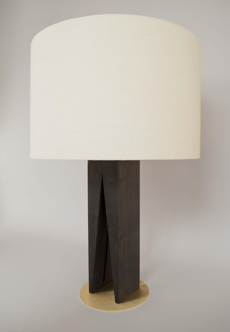 British Contemporary V Table Lamp, Geometric Oak Base and Linen Shade For Sale