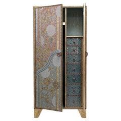 Contemporary Valentina Giovando Closet Wood Fabric Metal Bronze Gold Aqua Pink