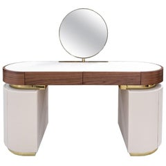 Contemporary Vanity Dressing Table Round Mirror in Leather and Walnut Wood