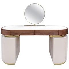21th Century Modern Vanity Dressing Table Round Mirror Leather & Walnut Wood