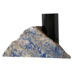 Contemporary Vase, Blue Bahia Granite Black Glass Cylinder, by Erik Olovsson