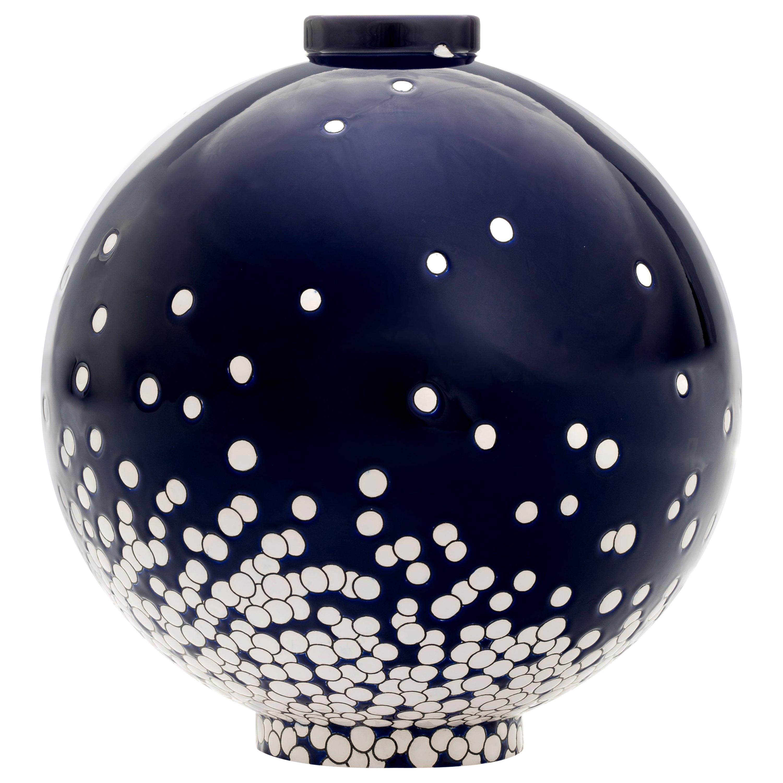 Contemporary Vase Emaux de Longwy, Darksnow