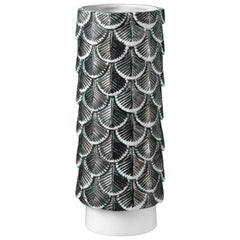 Contemporary Vase Hand Decorated with Silver Green and White Enamels