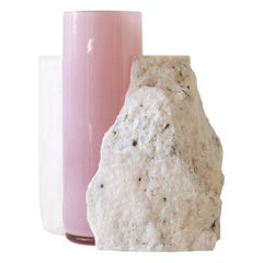 Contemporary Vase, Rosa Portogallo marble and Glass Cylinder, by Erik Olovsson