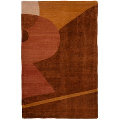 Contemporary Vegas Brown and Gold Wool and Silk Rug