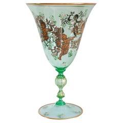 Contemporary Venetian Spring Green Murano Gilded Vase with Cherubs