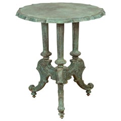 Contemporary Verde Bronze Round Top Table with Fluted Legs and Scrolling Feet