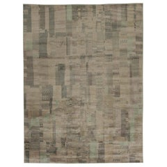 Contemporary Verdigris Brown and Beige Handwoven Wool Rug