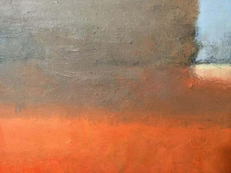 Oil painting is composed of vibrant orange tones mingled with neutral brown and grey tones. Verso is titled and signed illegibly. Canvas measures approximate 20 inches squared in height and width. Signed original artwork, abstract Modernist art,