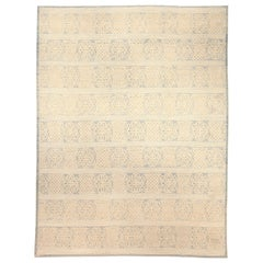 Contemporary Vespero Beige, Blue and White Hand Knotted Wool Rug