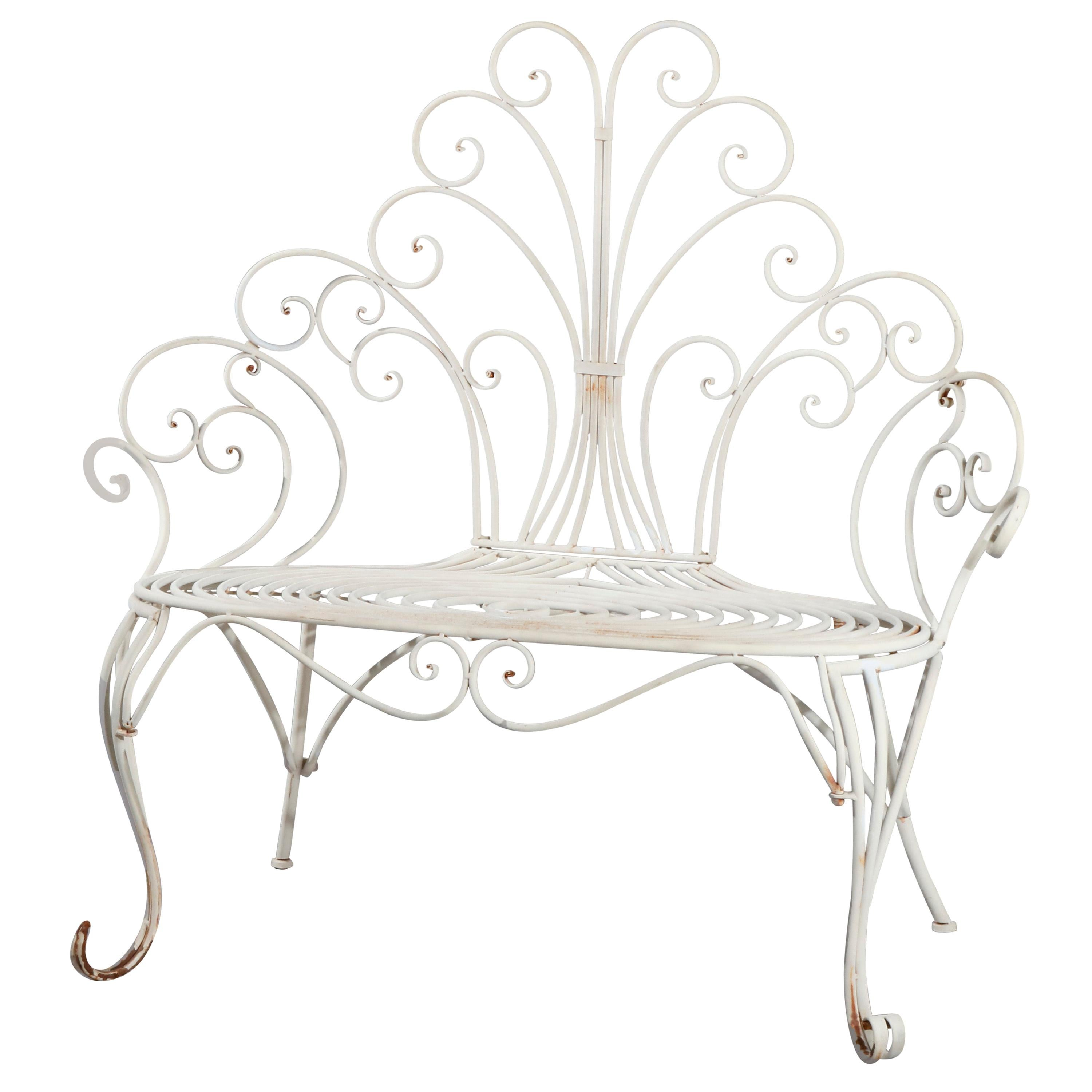 Contemporary Victorian Style High Wire Form Garden Bench, 20th Century