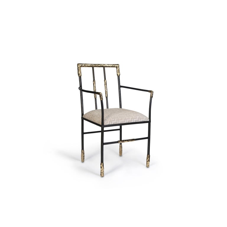 """1. Product description:  The """"Viking"""" armchair is made of polished brass and high-end jacquard velvet which enhances the comfort of this piece. After smelting, a process known for thousands of years widely used in brass and bronze sculptures and"""