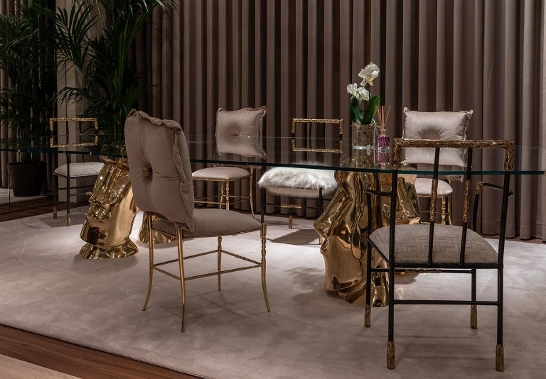 Contemporary Viking Dining Armchair, Brass and Synthetic Fur Cushion, Art Chair In New Condition For Sale In Oporto, PT