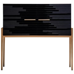 "Contemporary ""Vind"" Cabinet in Black Lacquer and Black Oak by Larissa Batista"