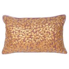 Contemporary Vintage Plum Silk Velvet Pillow with Metallic Embroidery