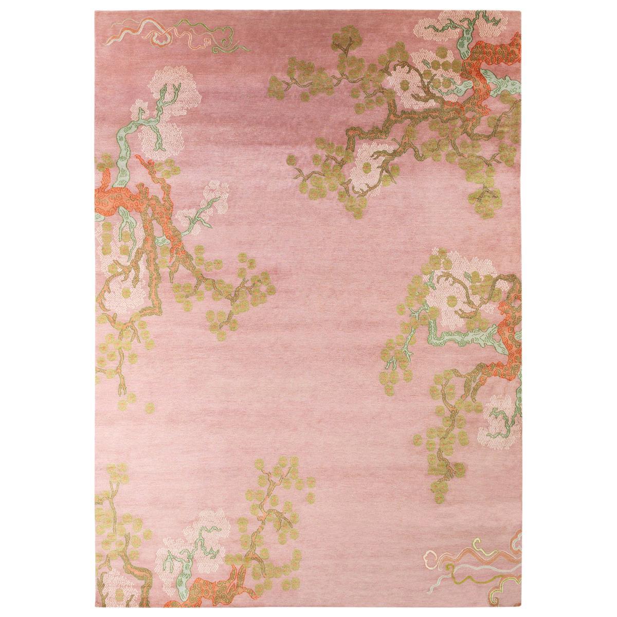 Contemporary Violet Botanical Silk Area Rug