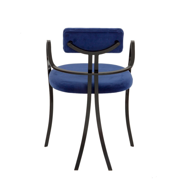 Italian Contemporary Violet Chair with Velvet Seat and Seatback in Blue Color For Sale
