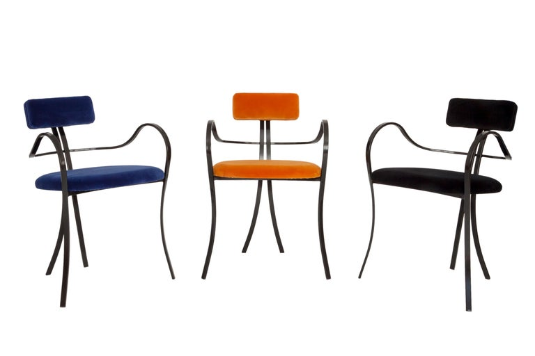 Hand-Crafted Contemporary Violet Chair with Velvet Seat and Seatback in Blue Color For Sale
