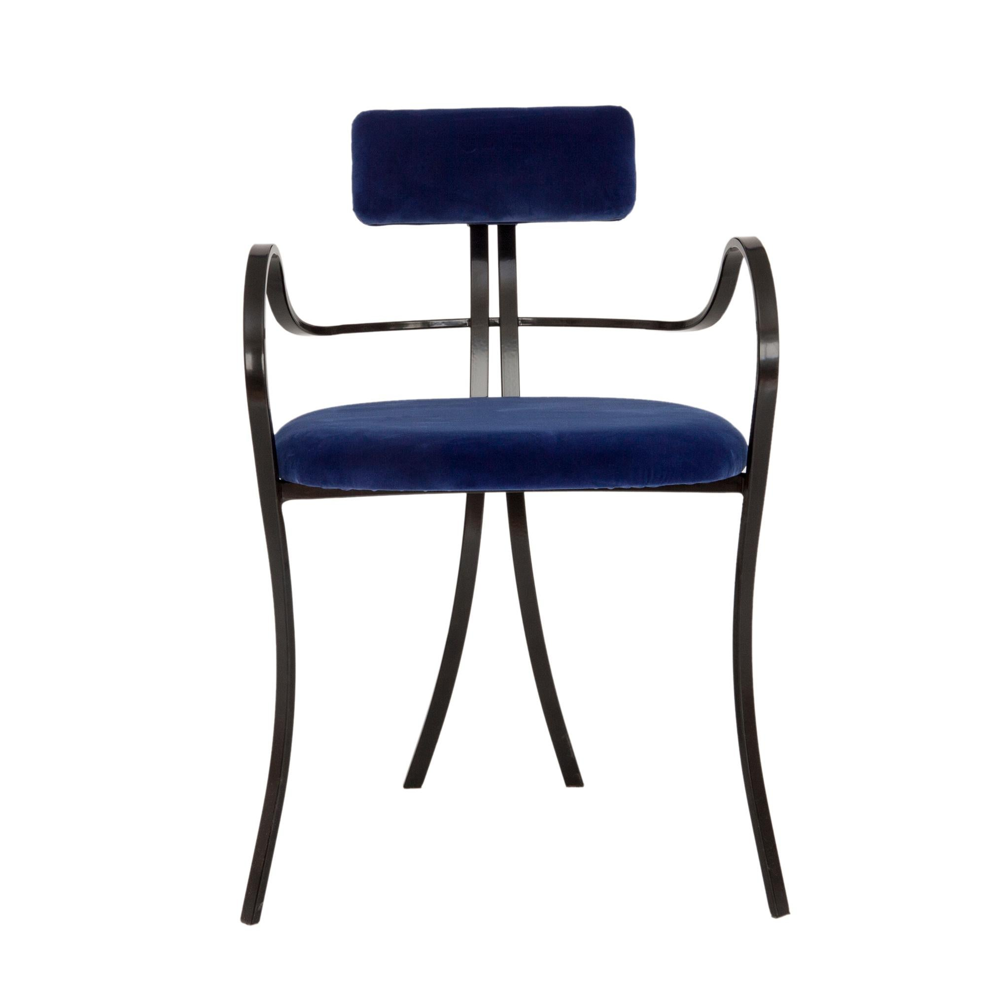 Contemporary Violet Chair with Velvet Seat and Seatback in Blue Color