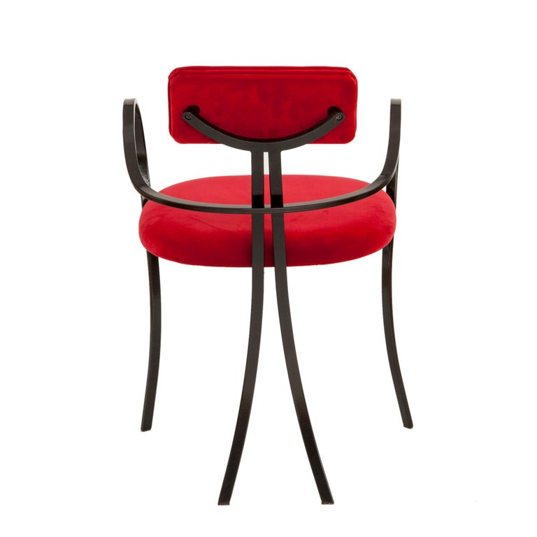 Italian Contemporary Violet Chair with Velvet Seat and Seatback in Red Color For Sale