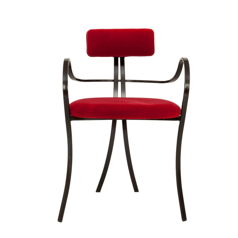 Contemporary Violet Chair with Velvet Seat and Seatback in Red Color For Sale