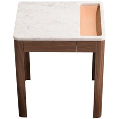 Contemporary Void Side Table in White Oak, Carrara Marble, and Leather by Harold