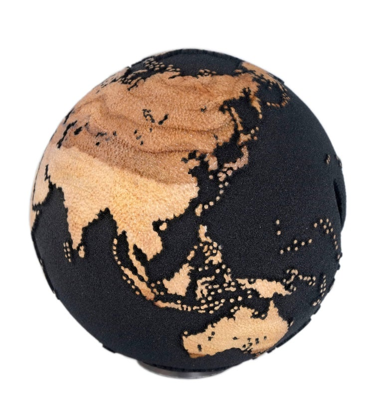 Organic Modern Contemporary Volcanic Sand Wooden Globe with Hammered Skin Texture Finish, 20cm For Sale
