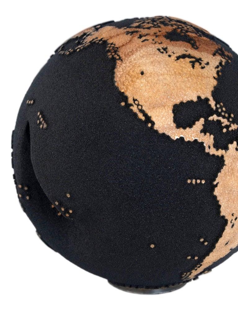Appliqué Contemporary Volcanic Sand Wooden Globe with Hammered Skin Texture Finish, 20cm For Sale