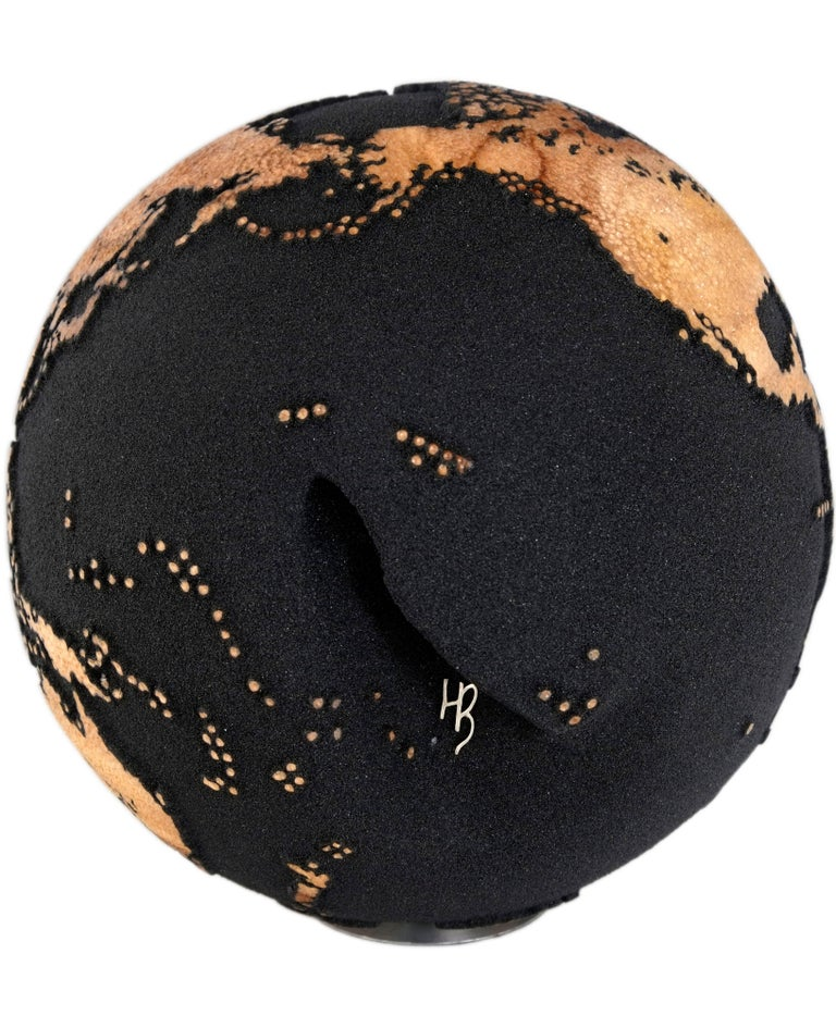 Ash Contemporary Volcanic Sand Wooden Globe with Hammered Skin Texture Finish, 20cm For Sale