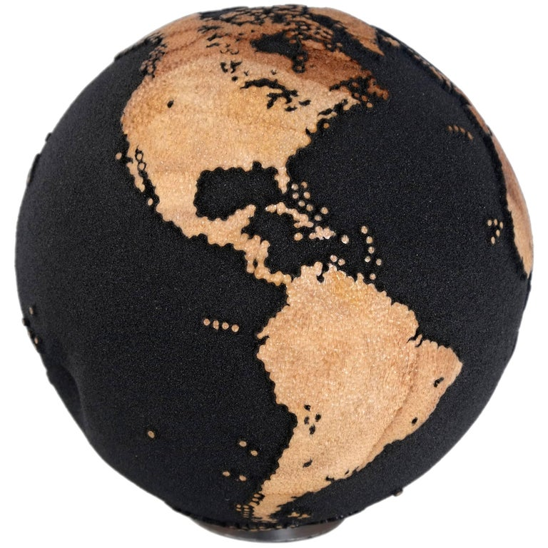 Contemporary Volcanic Sand Wooden Globe with Hammered Skin Texture Finish, 20cm For Sale