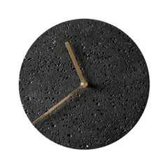 Contemporary Wall Clock 'Moment' in Black Lava Stone