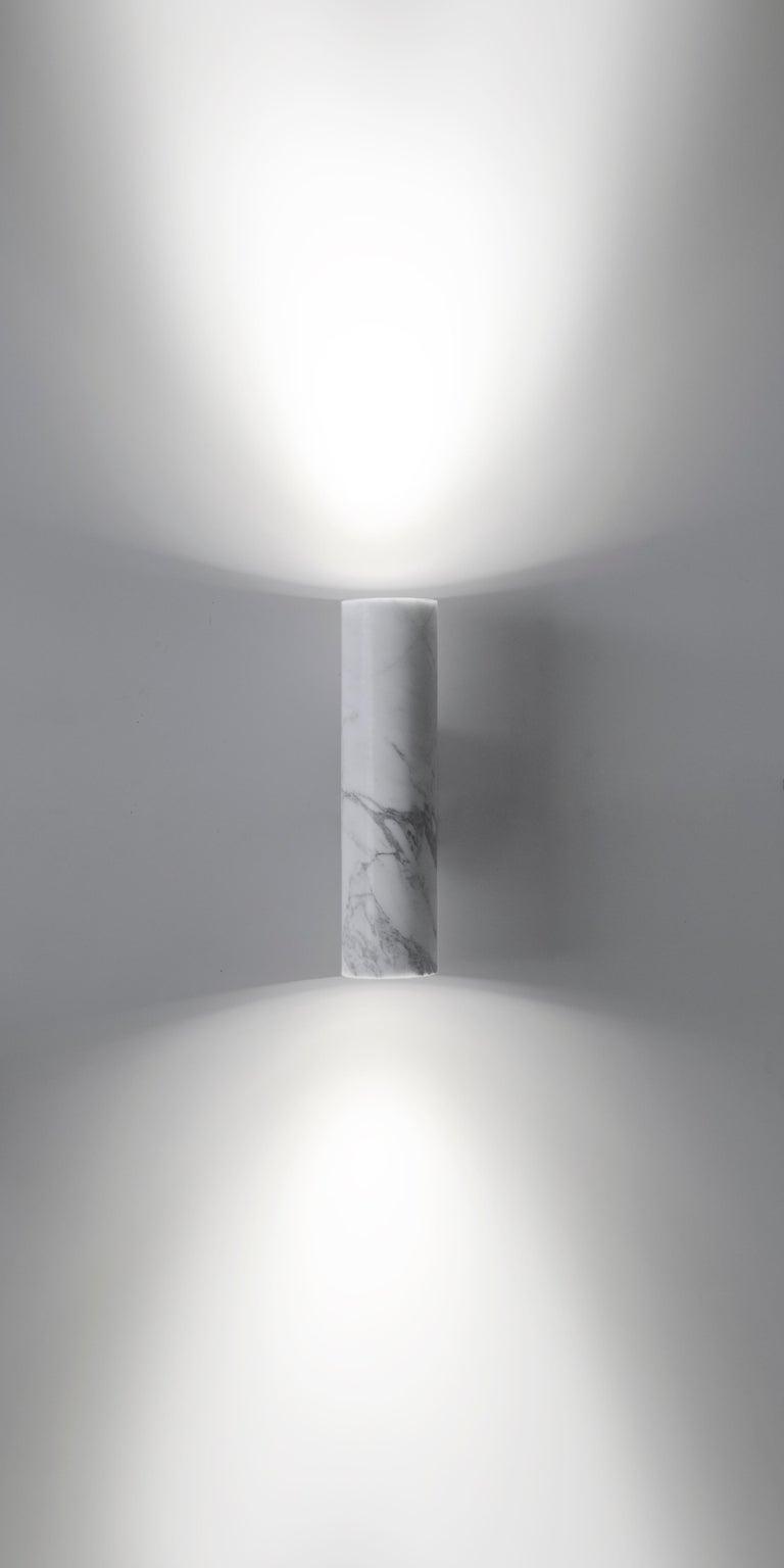 Contemporary Wall Lamps 'W01' in Black Lava Stone For Sale 9