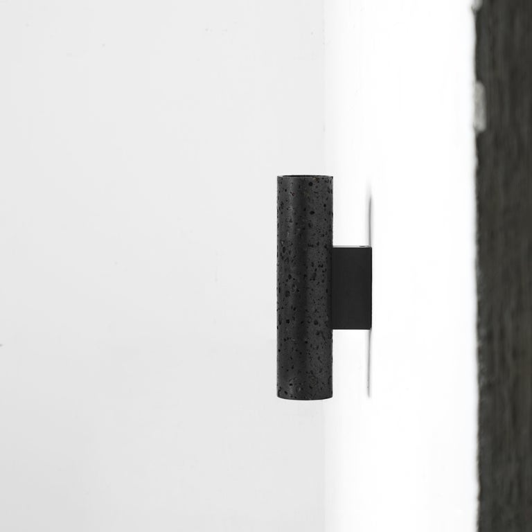 Contemporary Wall Lamps 'W01' in Black Lava Stone In New Condition For Sale In Paris, FR