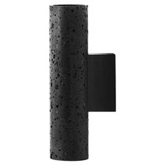 Contemporary Wall Lamps 'W01' in Black Lava Stone
