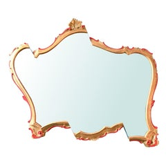 Contemporary Wall Mirror from a Sawn Antique Giltwood Frame