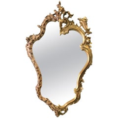 Contemporary Wall Mirror from Two Gilded and Leopard Spot Painted Antique Frames