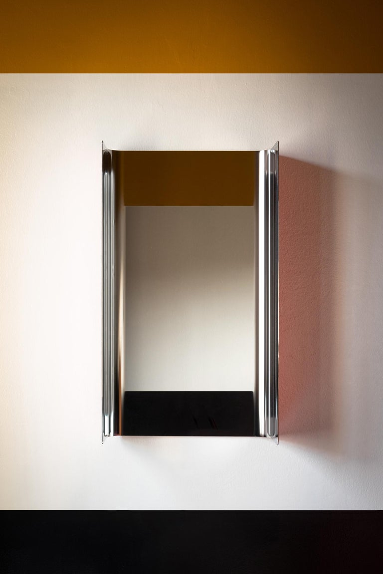 Modern Contemporary Wall Mirror Lacquered Steel Metal For Sale