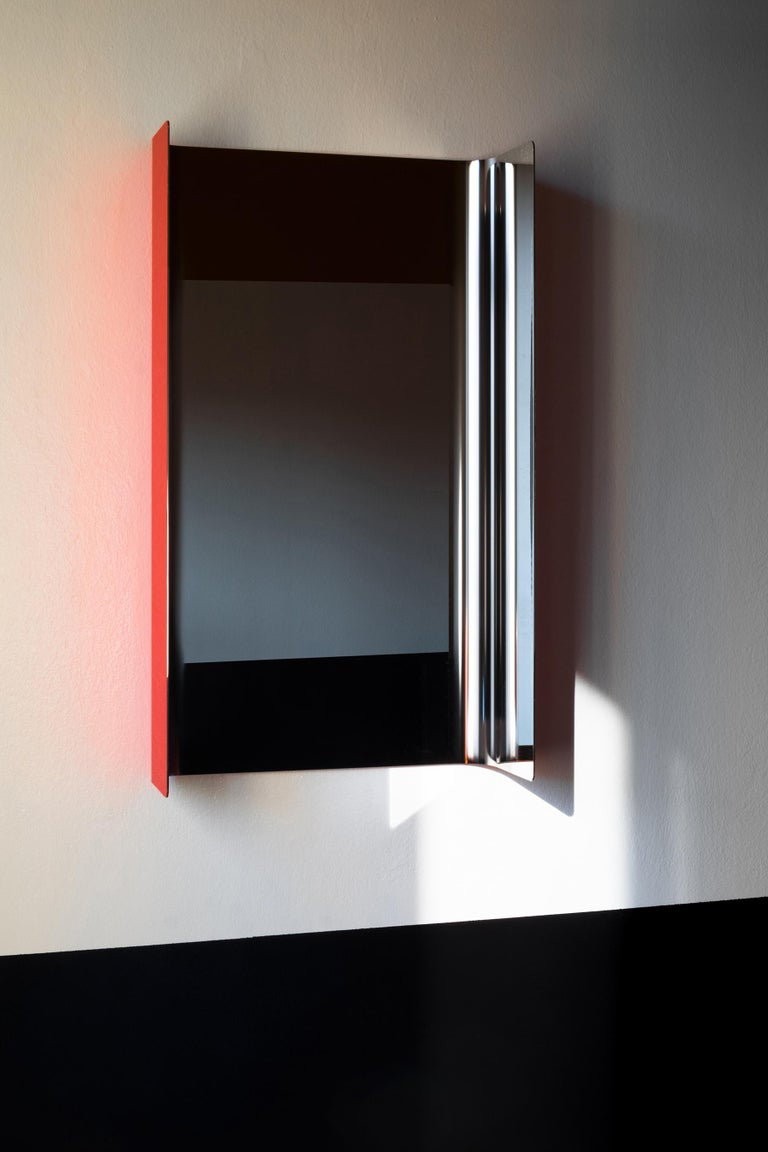 Italian Contemporary Wall Mirror Lacquered Steel Metal For Sale