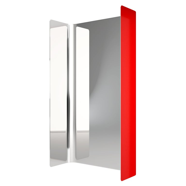 Contemporary Wall Mirror Lacquered Steel Metal For Sale
