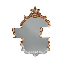 Contemporary Wall Mirror with Slid Antique Giltwood and Faux Marble Frame